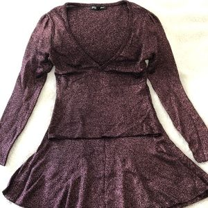 Betsey Johnson Knit Skirt in sparkly purple